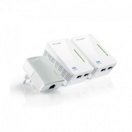 PACK DE 3 ADAPTADORES PLC/POWERLINE  2 X ETHERNET 500MBPS 1 X WIFI 300MBPS PLUG & PLAY ONE-TOUCH RANGE EXTENSIÓN