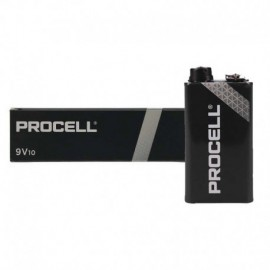 PACK 10 PILAS 9V DURACELL PROCELL ID1604IPX10 - ALCALINA (ZN/MNO2) - 673MAH