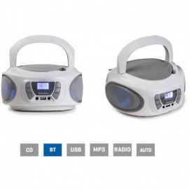 RADIO CD FONESTAR BOOM-ONE-B BLANCO - 4W RMS - BLUETOOTH - FM - USB/MP3 - AUX IN - SALIDA AURICULARES - EFECTOS LUMINOSOS