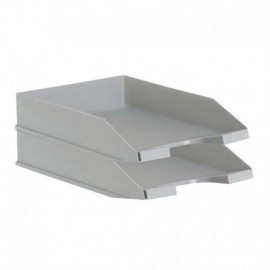 PACK 2 BANDEJAS APILABLES - FONDO LISO - GRIS - 350X258X65 MM - ARCHIVO 2000