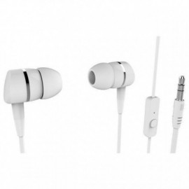 AURICULARES INTRAUDITIVOS VIVANCO 38010 BLANCO - 20-20HZ - 105DB - 32OHM - CONTROL VOLUMEN - CABLE 1.2M - JACK 3.5