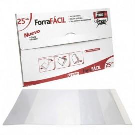 25 UNIDADES FORRO LIBRO AJUSTABLE 300X530 - PVC TRANSAPARENTE - FORRAFACIL FIXO - GRAFOPLAS