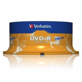 DVD-R VERBATIM ADVANCED AZO 16X 4.7GB TARRINA 25 UNIDADES